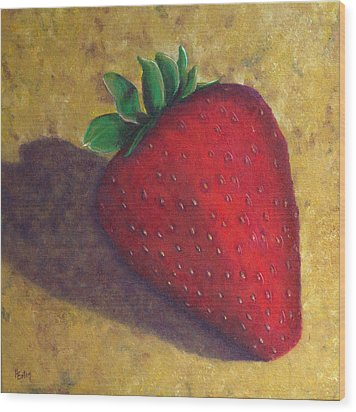 A Great Big Strawberry Wood Print by Helen Eaton