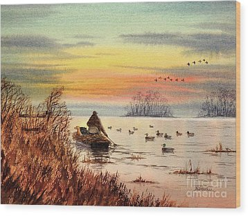 Wood Print featuring the painting A Great Day For Duck Hunting by Bill Holkham