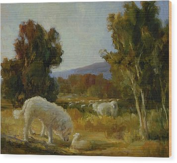 A Great Pyrenees With A Lamb Wood Print by Lilli Pell