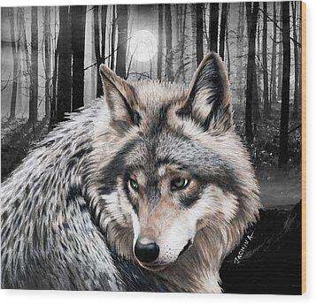 A Grey Wolf  Wood Print by Jasmina Susak