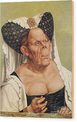 A Grotesque Old Woman Wood Print by Quentin Massys