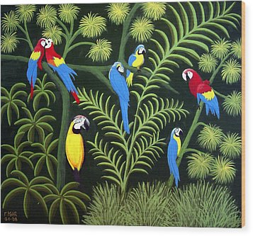 Wood Print featuring the painting A Group Of Macaws by Frederic Kohli