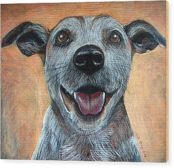 A Happy Mutt Wood Print