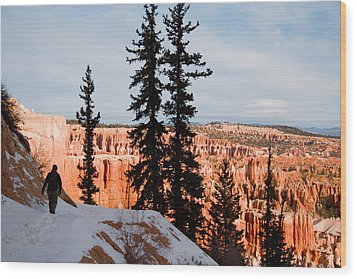 A Hiker Walks Along A Ledge In Winter Wood Print by Taylor S. Kennedy