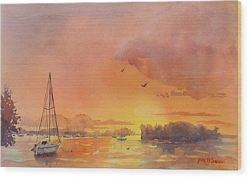 A Hingham Sunset Wood Print by Laura Lee Zanghetti