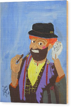 Wood Print featuring the painting A Hobo Clown by Swabby Soileau