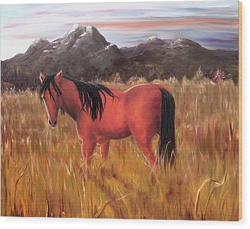 Wood Print featuring the painting A Horse Of Course by Diane Daigle