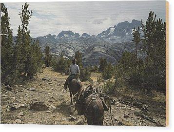 A Horse Packer In A High Mountain Wood Print by Gordon Wiltsie
