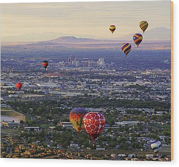 A Hot Air Ride To Albuquerque Cropped Wood Print by Daniel Woodrum