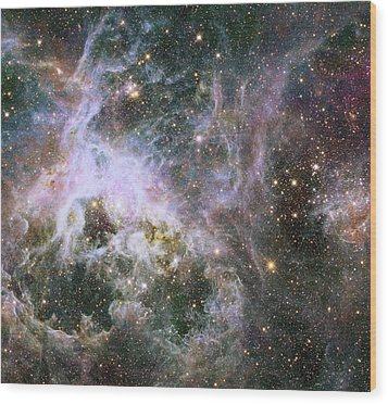 Wood Print featuring the photograph A Hubble Infrared View Of The Tarantula Nebula by Nasa