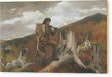 Wood Print featuring the painting A Huntsman And Dogs - 1891 by Winslow Homer