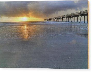 A Jacksonville Beach Sunrise - Florida - Ocean - Pier  Wood Print