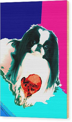 A Japanese Chin And His Toy Wood Print by Kathleen Sepulveda