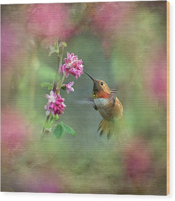 Wood Print featuring the photograph A Jewel In The Flowers by Angie Vogel