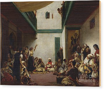 A Jewish Wedding In Morocco Wood Print by Ferdinand Victor Eugene Delacroix