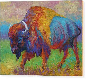 A Journey Still Unknown - Bison Wood Print by Marion Rose