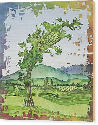 A Kale Leaf Visits The Country Wood Print by Carolyn Doe