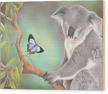 A Kiss For Koala Wood Print by Karen Hull