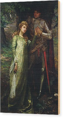 A Knight And His Lady Wood Print by William G Mackenzie