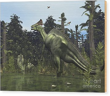 A Lambeosaurus Rears Onto Its Hind Legs Wood Print by Walter Myers