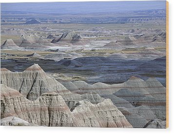 A Landscape Of The Badlands In South Wood Print by Joel Sartore