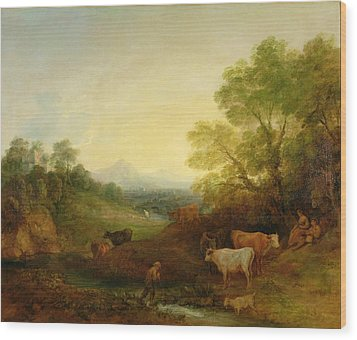 A Landscape With Cattle And Figures By A Stream And A Distant Bridge Wood Print by Thomas Gainsborough