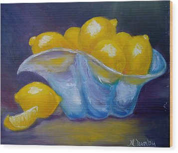 A Lemon Slice Wood Print by Marie Hamby