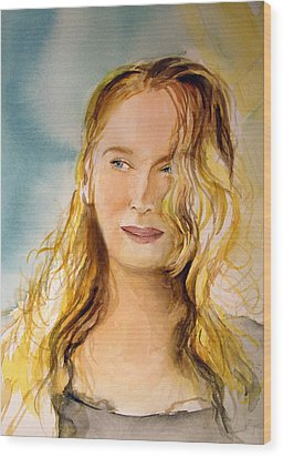 Wood Print featuring the painting A Little Bit Of Meryl by Allison Ashton
