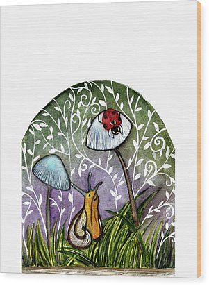 A Little Chat-ladybug And Snail Wood Print by Garima Srivastava