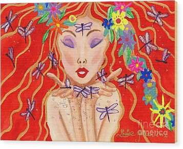 A Little Dragonfly Spell Wood Print by Louise Green