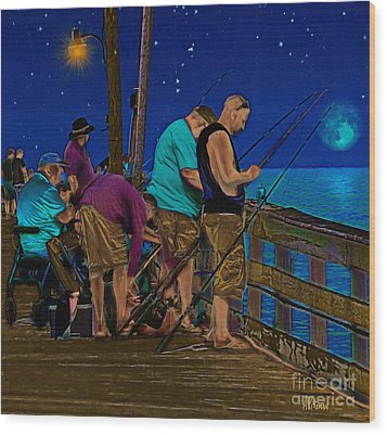 A Little Night Fishing At The Rodanthe Pier 2 Wood Print by Anne Kitzman
