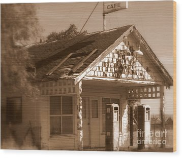 A Little Weathered Gas Station Wood Print by Carol Groenen