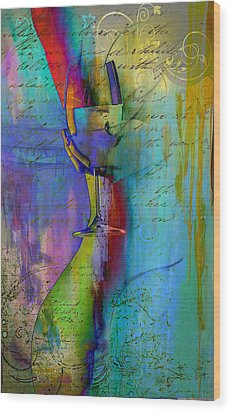 Wood Print featuring the digital art A Little Wining by Greg Sharpe