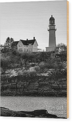 Wood Print featuring the photograph A Long Winter At Cape Elizabeth by Olivier Le Queinec
