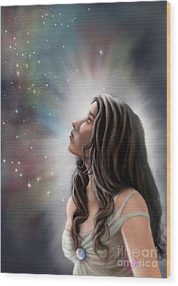 Wood Print featuring the painting A Longing For The Stars by Amyla Silverflame