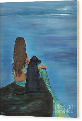 Wood Print featuring the painting A Loyal Buddy by Leslie Allen