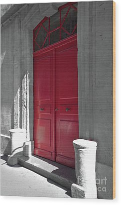 A Magic Red Door Wood Print by Christine Amstutz