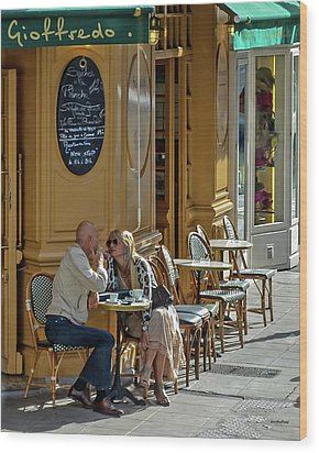 A Man A Woman A French Cafe Wood Print by Allen Sheffield