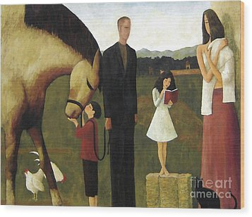 Wood Print featuring the painting A Man About A Horse by Glenn Quist