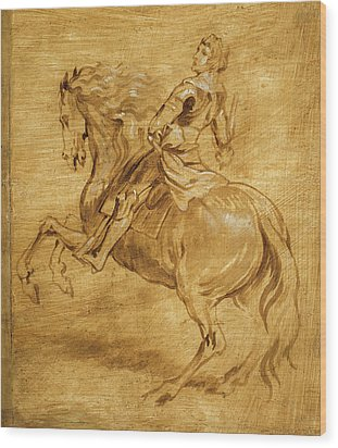 Wood Print featuring the painting A Man Riding A Horse by Anthony van Dyck
