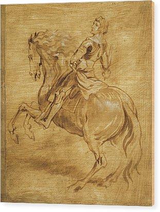 A Man Riding A Horse Wood Print by Anthony van Dyck