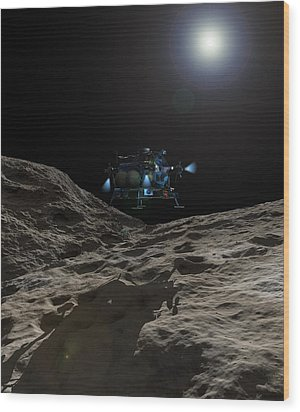 A Manned Asteroid Lander Approaches Wood Print by Walter Myers