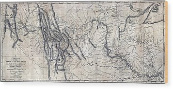 A Map Of Lewis And Clarks Track Wood Print by Everett