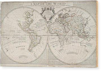 A Map Of The World Wood Print by John Senex
