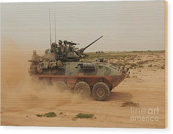 A Marine Corps Light Armored Vehicle Wood Print by Stocktrek Images