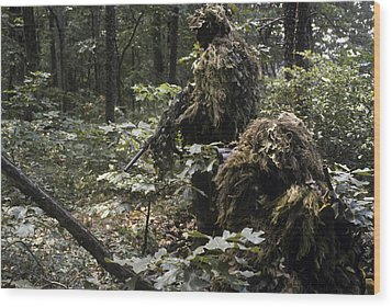 A Marine Sniper Team Wearing Camouflage Wood Print by Stocktrek Images