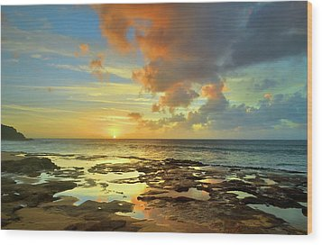 Wood Print featuring the photograph A Marmalade Sky In Molokai by Tara Turner