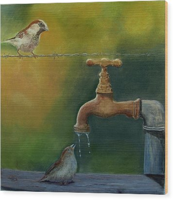 Wood Print featuring the painting A Matter Of Watter by Ceci Watson