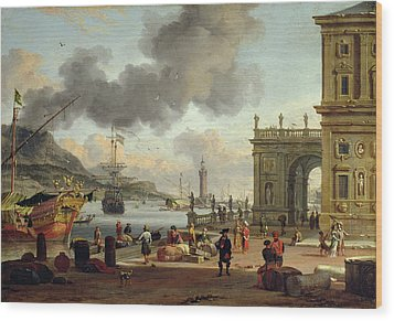 A Mediterranean Harbour Scene   Wood Print by Abraham Storck