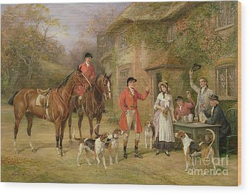 A Meeting At The Three Pigeons Wood Print by Heywood Hardy